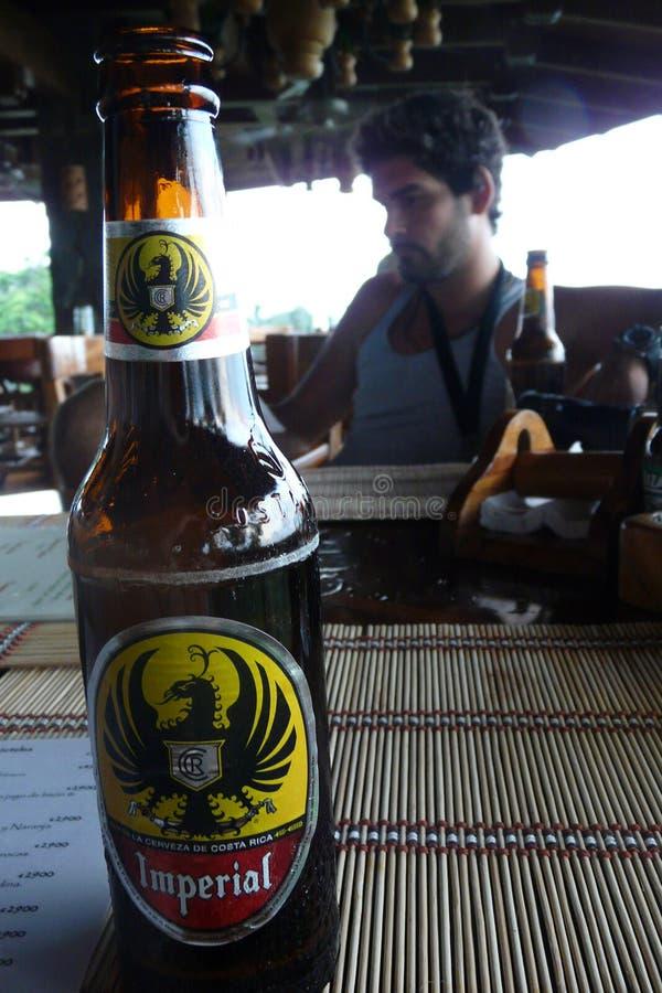 Manuel Antonio, Costa Rica - agosto, 28, 2010: Turista que bebe una cerveza dorada imperial fotos de archivo