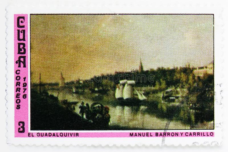 Manuel Barron Y Carrillo : Guadalquivir, Paintings from the National Museum serie, circa 1976. MOSCOW, RUSSIA - JULY 25, 2019: Postage stamp printed in Cuba royalty free stock photography