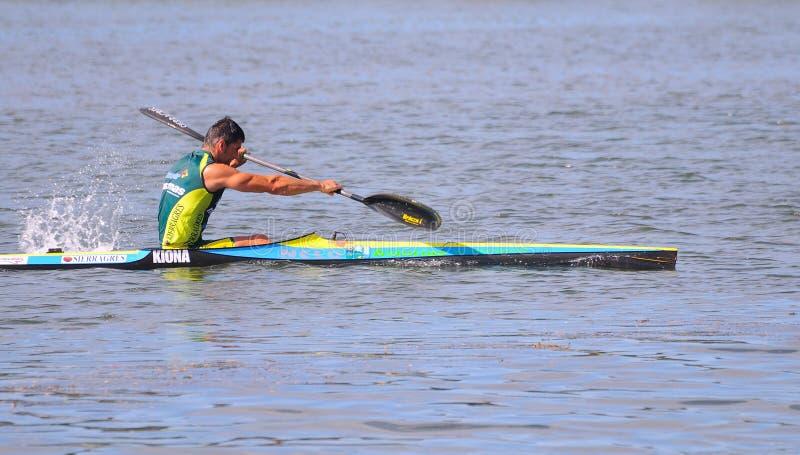 Manuel Busto, canoeing de Kampioen van de Wereld. stock fotografie