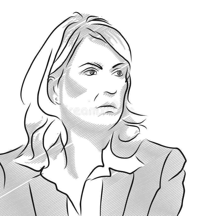 Manuela Schwesig Vector Outline Illustration royalty free illustration