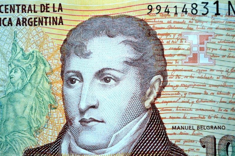 Manuelbelgrano tien peso's stock afbeelding