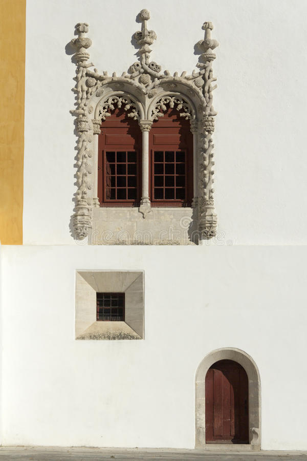 Manueline Window and Door, National Palace of Sintra royalty free stock photo