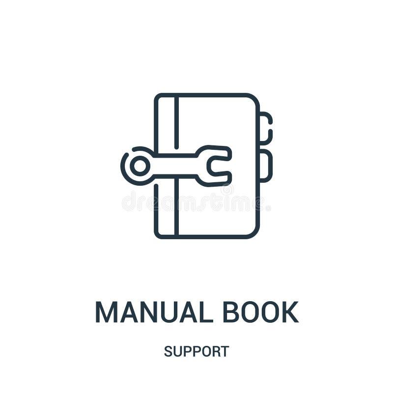 manuell boksymbolsvektor från servicesamling Tunn linje manuell illustration för vektor för boköversiktssymbol Linjärt symbol för vektor illustrationer