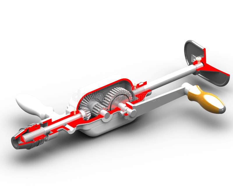 Manuell drill royaltyfri illustrationer