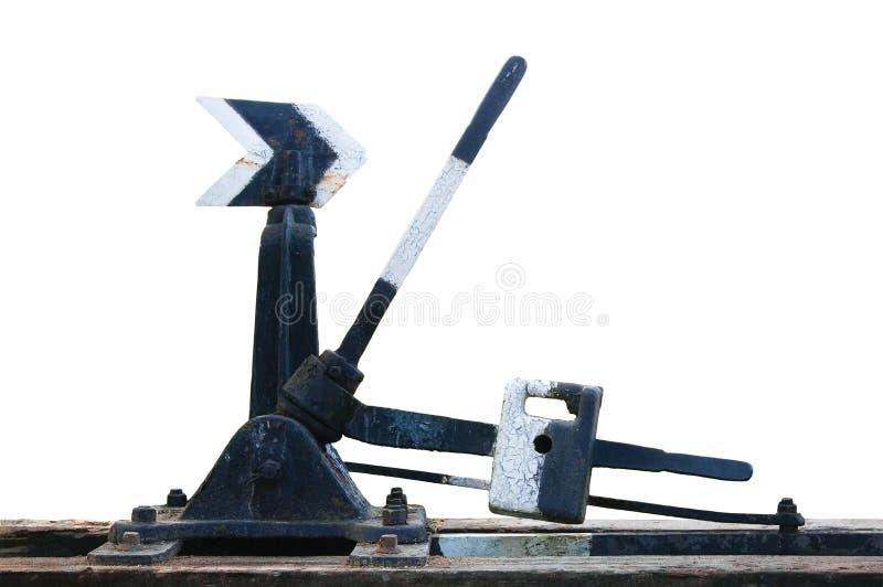 manuella mekaniska gammala punkter reser med tåg den rostiga strömbrytaren royaltyfri bild