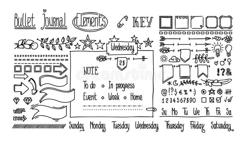 Manuella ritelement för anteckningsbok, dagbok Strålhanddragna Doodle Banners isolerade på vitt Siffror och vektor illustrationer