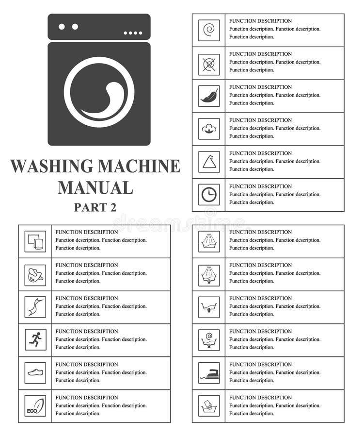 Manuella symboler för tvagningmaskin Anvisningar för del 2 Tecken och symboler för handbok för exploatering för tvagningmaskin An stock illustrationer