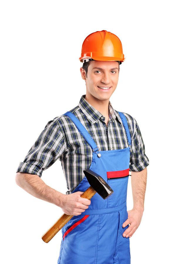 Manuelle Arbeitskraft, die einen Hammer anhält lizenzfreies stockbild