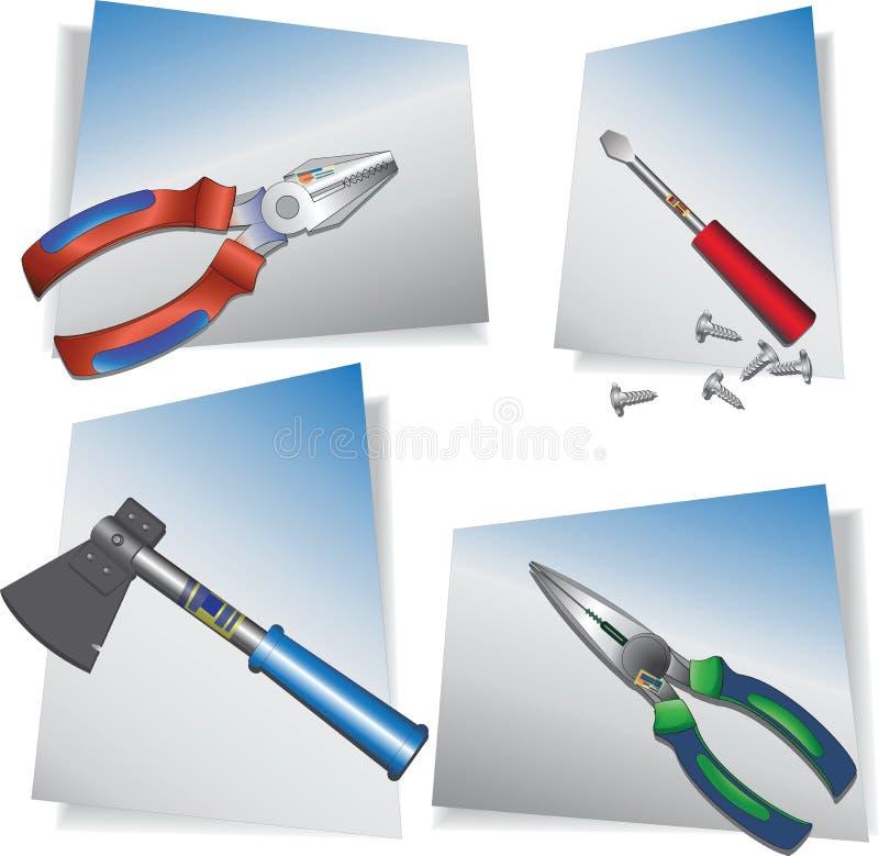 Manuelle Gebäudewerkzeuge Farbige vektorabbildung stock abbildung