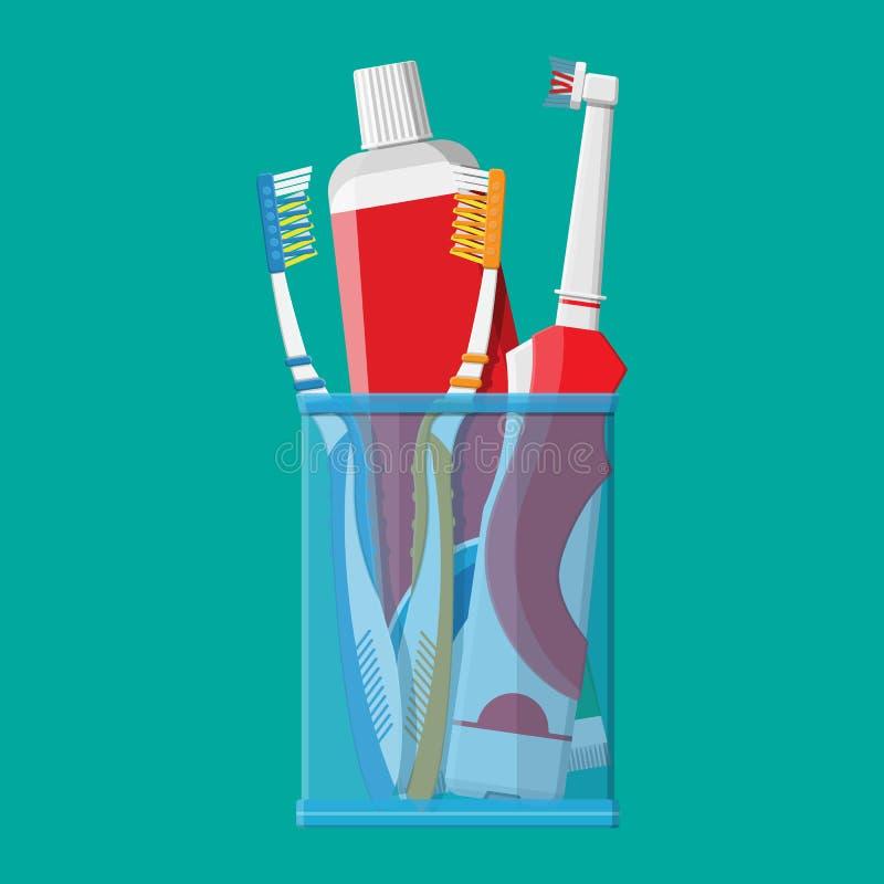 Manuelle und elektrische Zahnbürste, Zahnpasta, Glas lizenzfreie abbildung