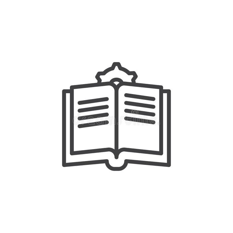 Manuelles Buch mit Gangentwurfsikone lizenzfreie abbildung