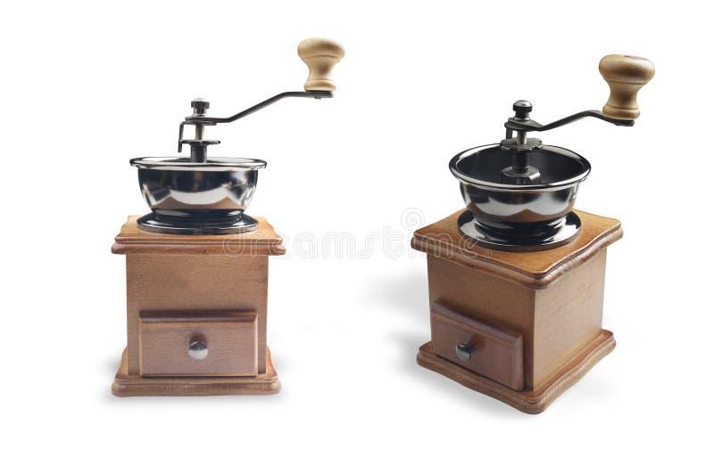 Manuelles Kaffeebohne-Schleiferwerkzeug lokalisiert auf weißem Hintergrund lizenzfreie stockbilder