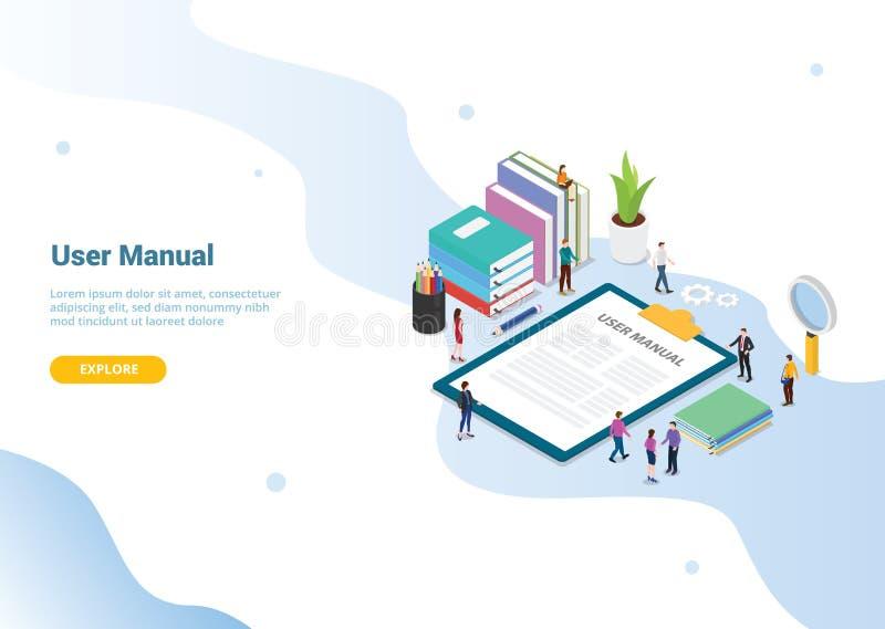 Manuellt bokbegrepp för användare med folk och någon handbok på skrivplattan för websitemalldesignen eller landahomepage - vektor stock illustrationer