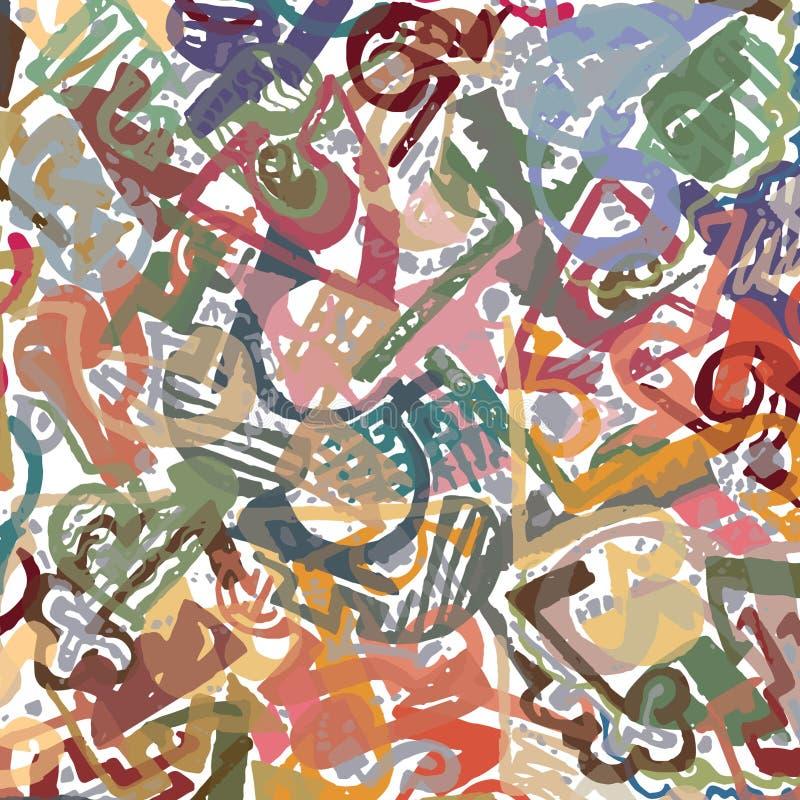 Manuellt dragen abstrakt modell med digitalt kulöra detaljer som överlappar, på den vita grunden stock illustrationer