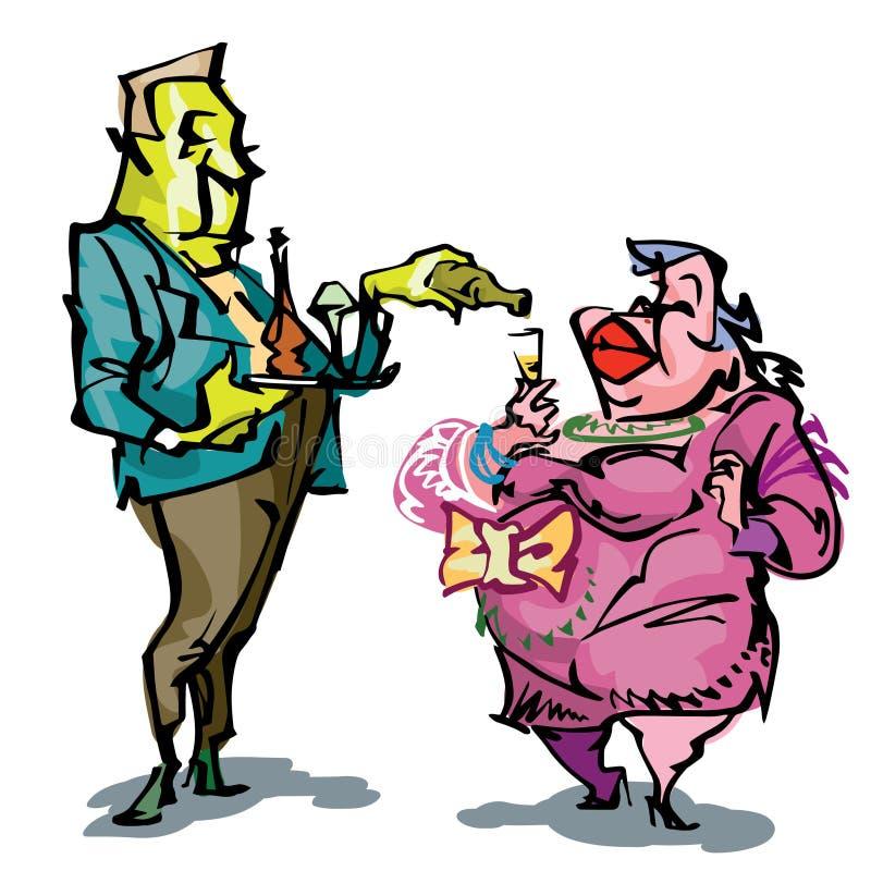 Manuellt dragen humoristisk illustration, var två personer, en växelverkande stor dam och uppassare stock illustrationer