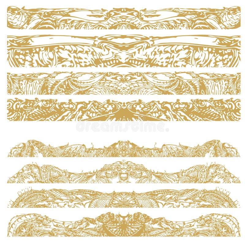 Manuellt drog traditionella dekorativa modelldetaljer, digitalt remastered, i guld- färg vektor illustrationer