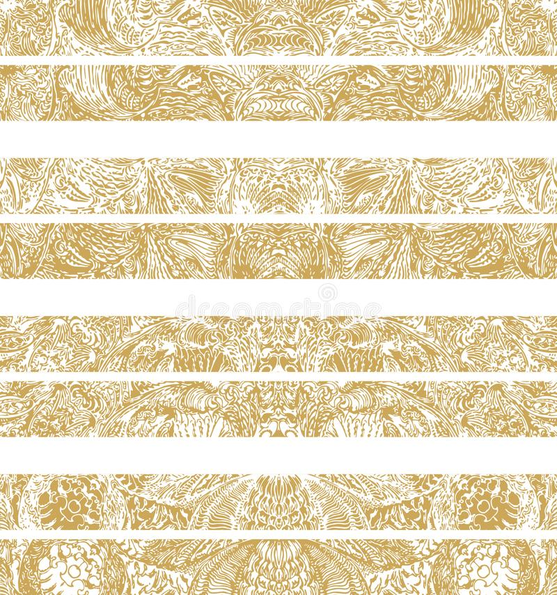 Manuellt drog traditionella dekorativa modelldetaljer, digitalt remastered, i guld- färg royaltyfri illustrationer
