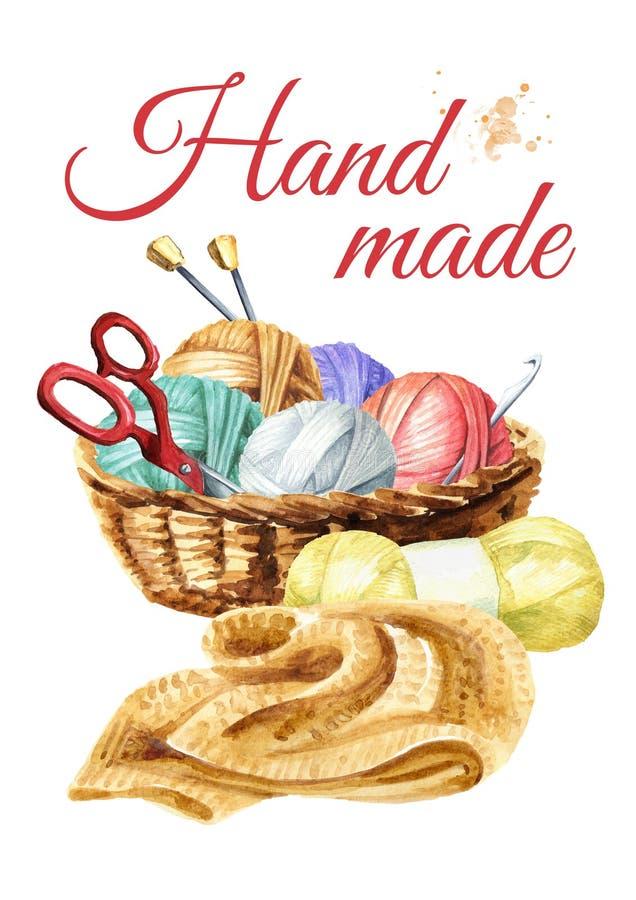 Manuellt handarbete Handgjort begrepp Dragen illustration f?r vattenf?rg som hand isoleras p? vit bakgrund royaltyfri illustrationer