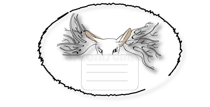 Manuellt handskriven vykort med djuret vektor illustrationer