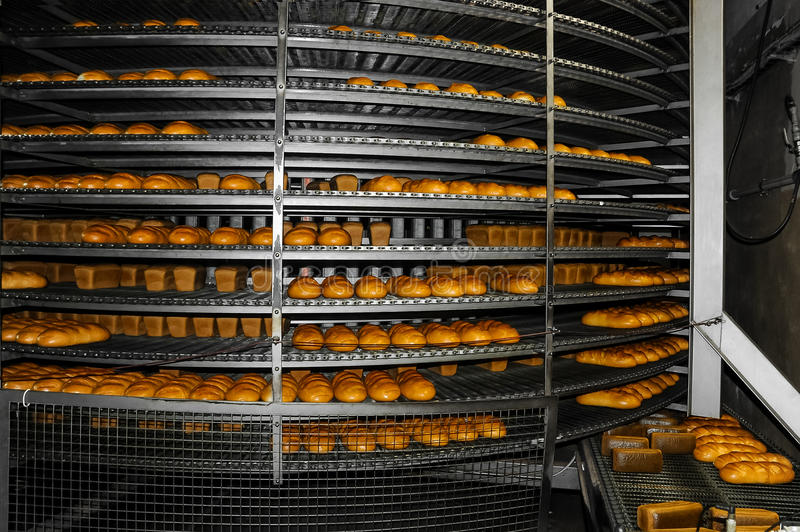 Manufacture of bakery products in the factory stock photo
