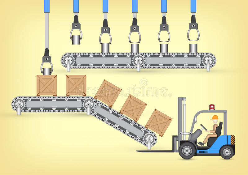 Manufacture. Forklift working with wood crate and transfer belt vector illustration
