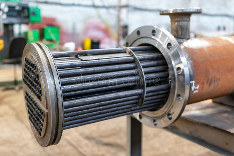 Manufacture of a new heat exchanger with tube bundle royalty free stock images