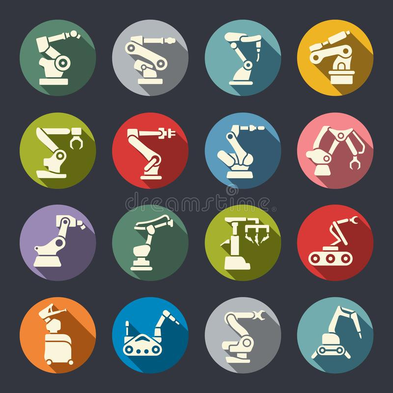 Robotic arms circle colourful flat icon set royalty free illustration
