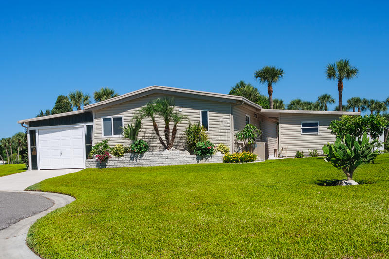 Manufactured home in park comunity. Manufactured home in park community stock images