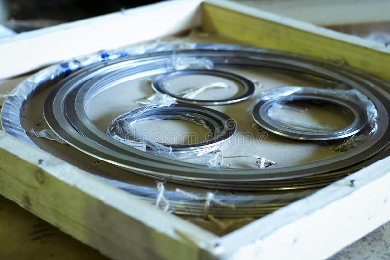 Gaskets for heat exchanger. Manufactured spiral wound gaskets with outer and inner ring for heat exchanger royalty free stock photography