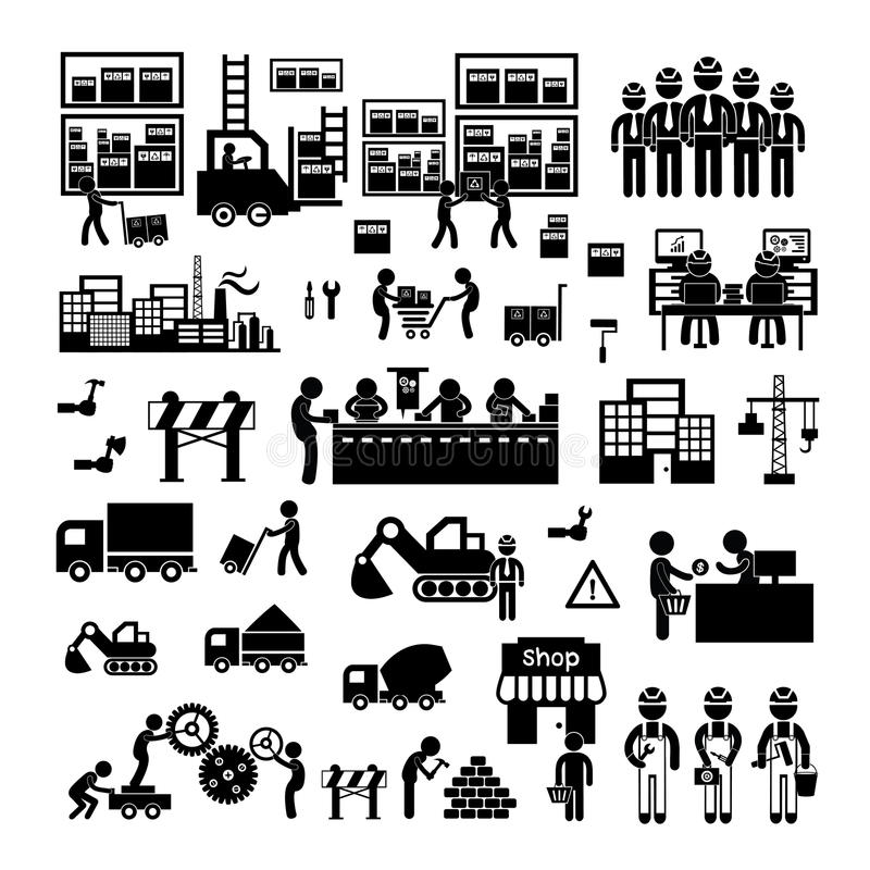 Manufacturer and distributor icon stock illustration