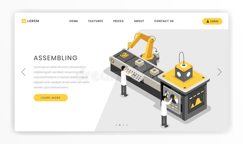 Manufacturing, constructing process landing page template. Hardware engineers monitoring autonomous manufacture vector royalty free illustration