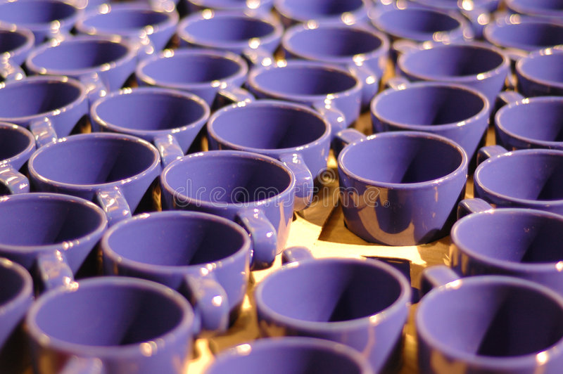 Manufacturing cups stock photo