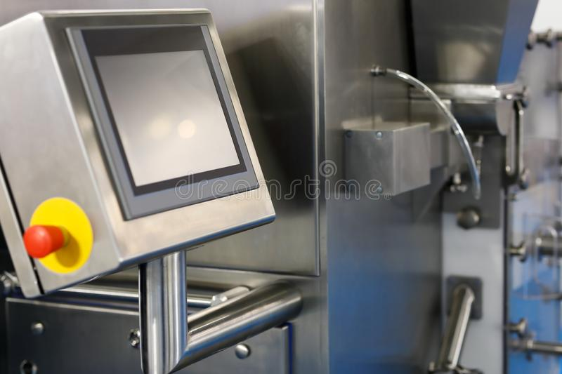 Manufacturing equipment with touchscreen control royalty free stock photos