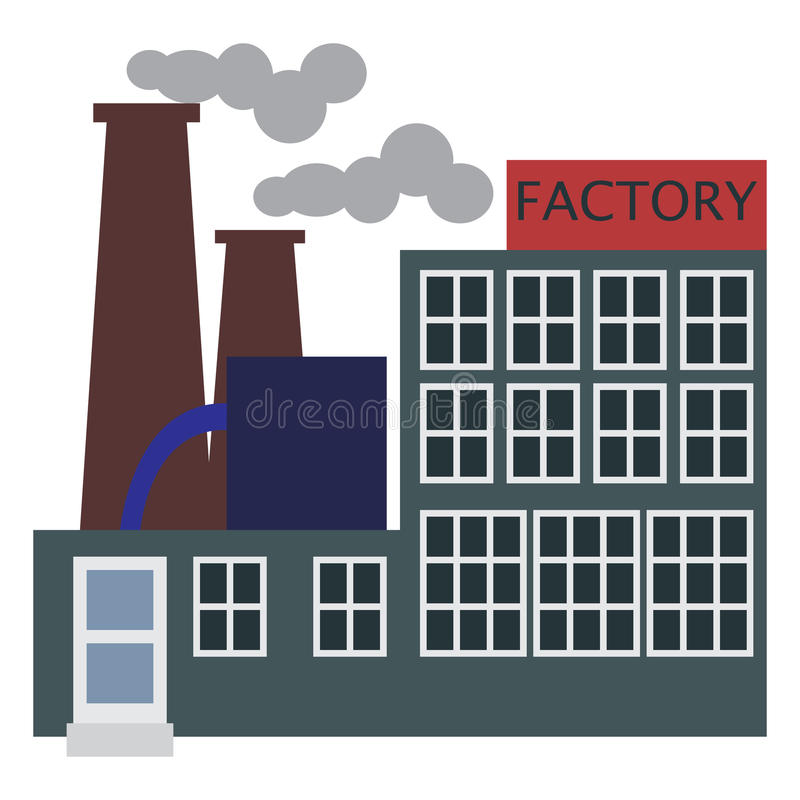 Manufacturing factory building icon, vector illustration royalty free illustration