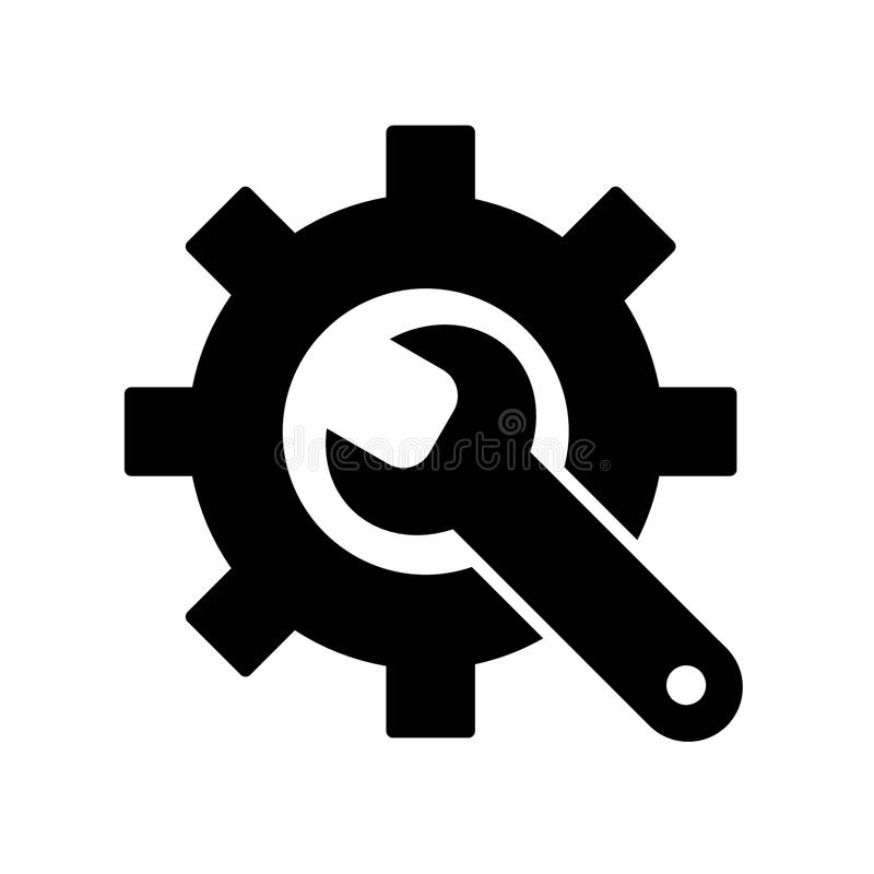 Manufacturing Icon. Gear and Wrench. Service Symbol. Flat Line Pictogram. Isolated on white background. Solid design. Eps 10 vector illustration