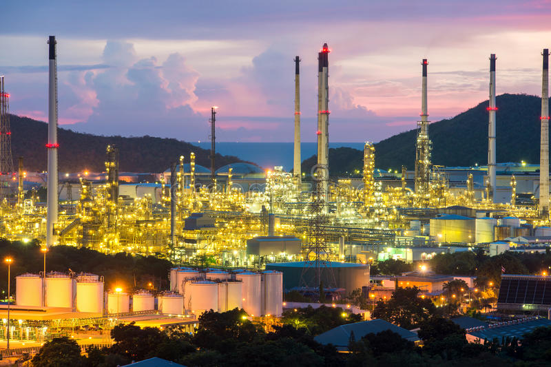Manufacturing industry. Oil refiney industry factory at night. stock image