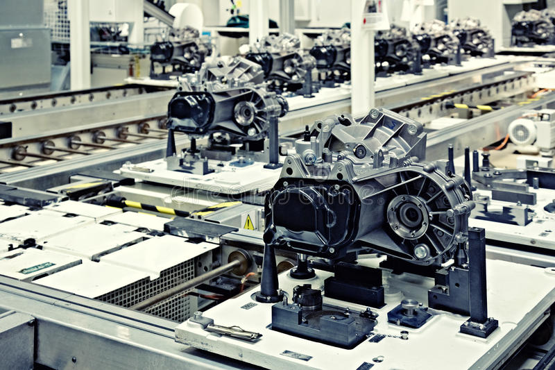 Manufacturing parts for transmission stock photography