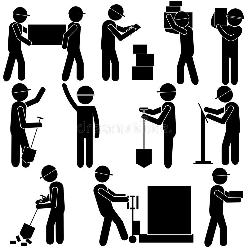 Manufacturing Process. Hard Manual Work. Stick Figure Pictogram Icon. Vector Illustration vector illustration