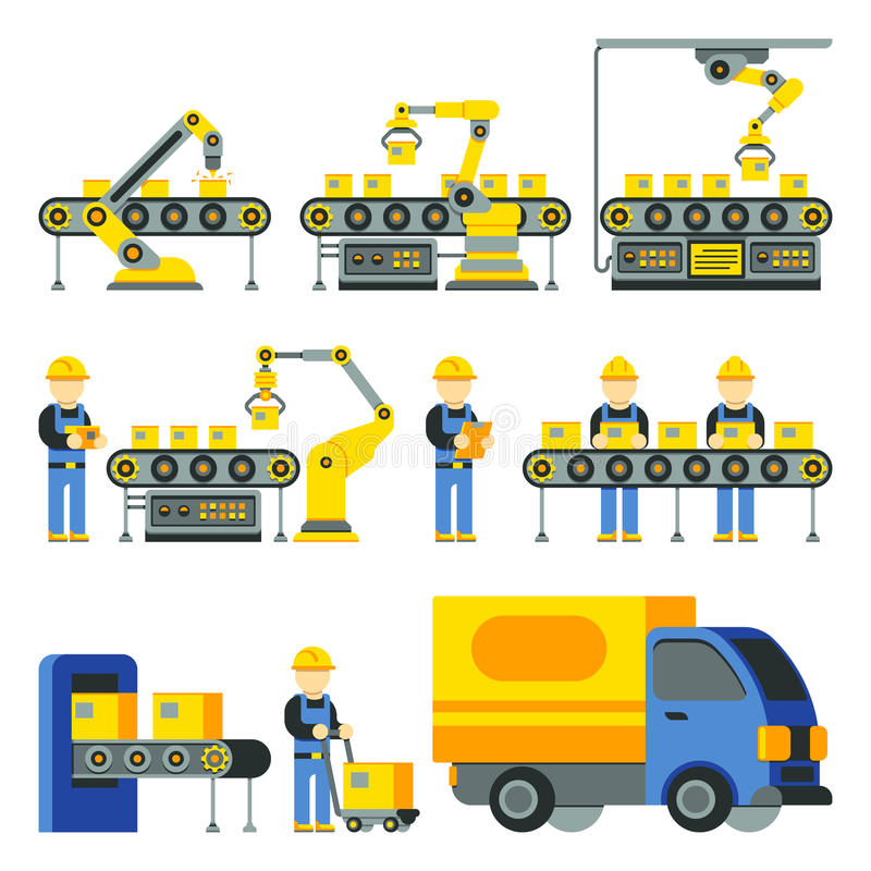 Manufacturing process with production factory line vector flat icons vector illustration