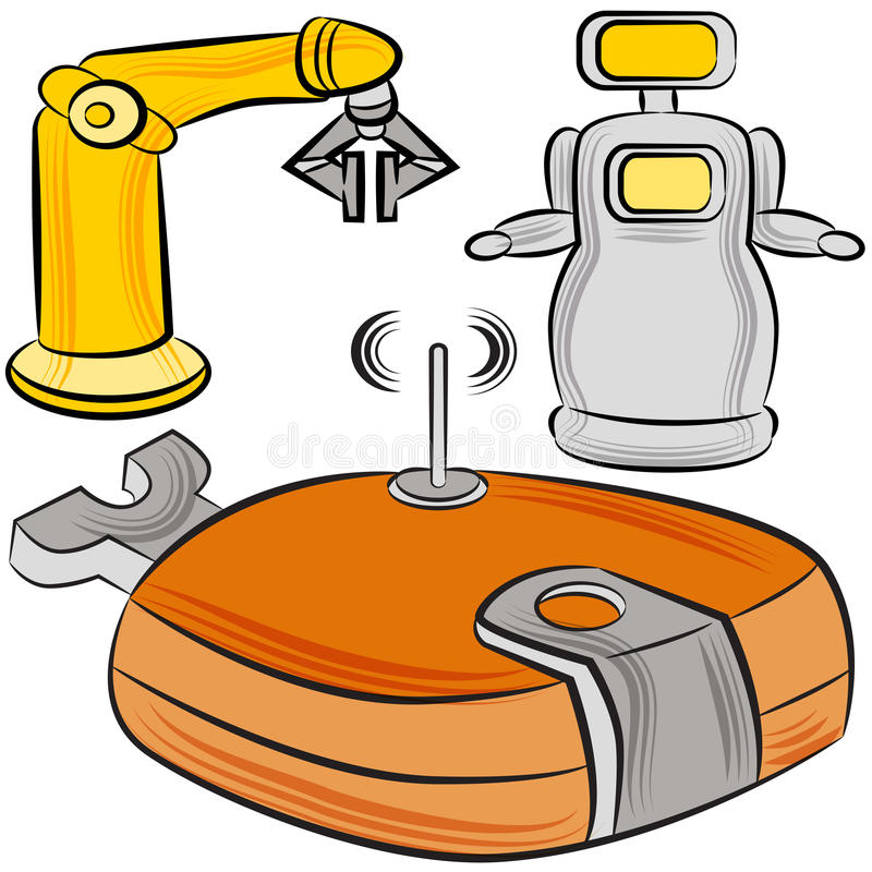 Manufacturing Robots. An image of a set of manufacturing robots vector illustration