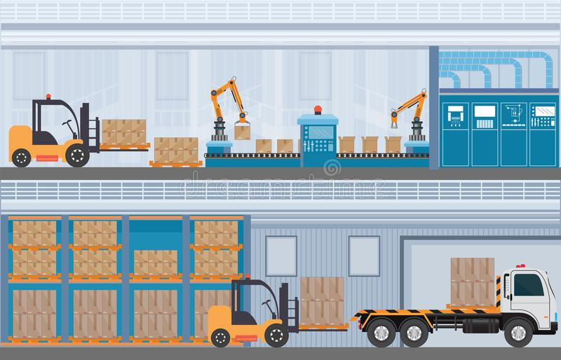 Manufacturing Warehouse Conveyor, Modern Assembly Production Lin royalty free illustration