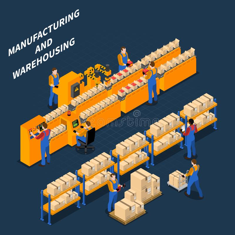 Manufacturing Warehouse Isometric Composition stock illustration