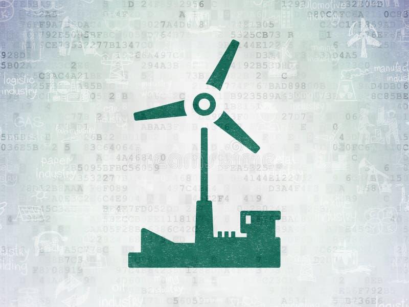 Manufacuring begrepp: Väderkvarn på pappersbakgrund för Digitala data vektor illustrationer