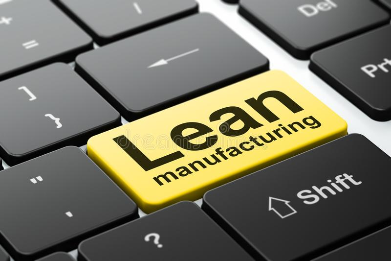 Manufacuring concept: Lean Manufacturing on computer keyboard background. Manufacuring concept: computer keyboard with word Lean Manufacturing, selected focus on stock illustration