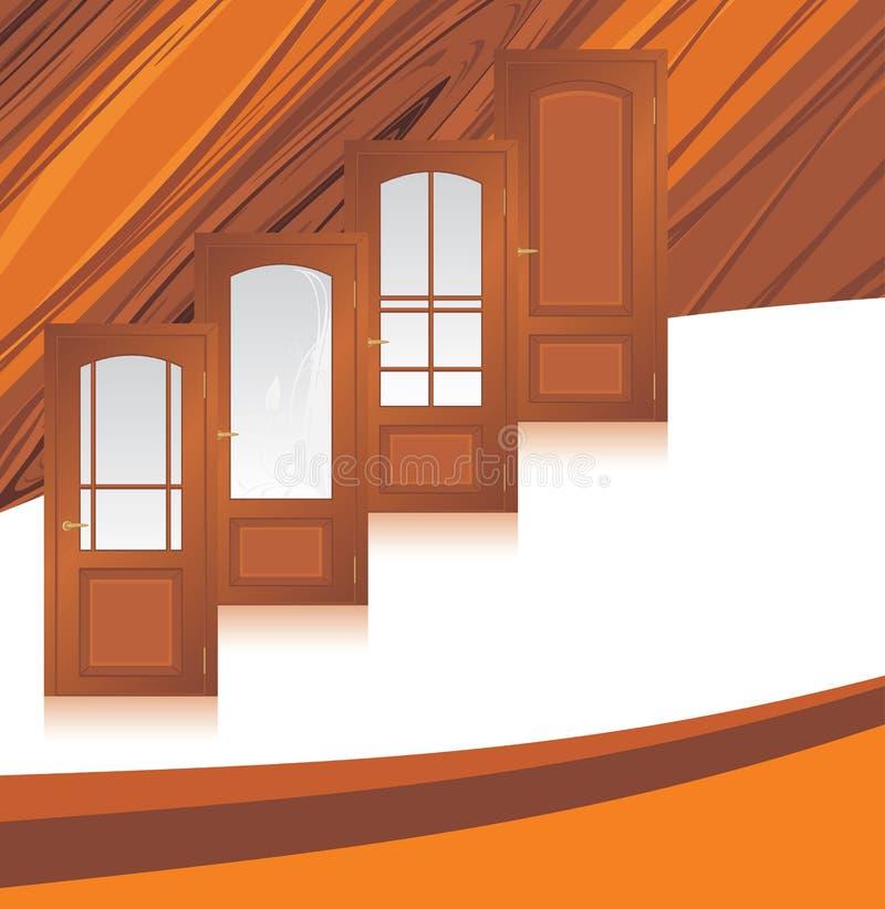 Manufaktura drewniani drzwi. Abstrakcjonistyczny tło ilustracji