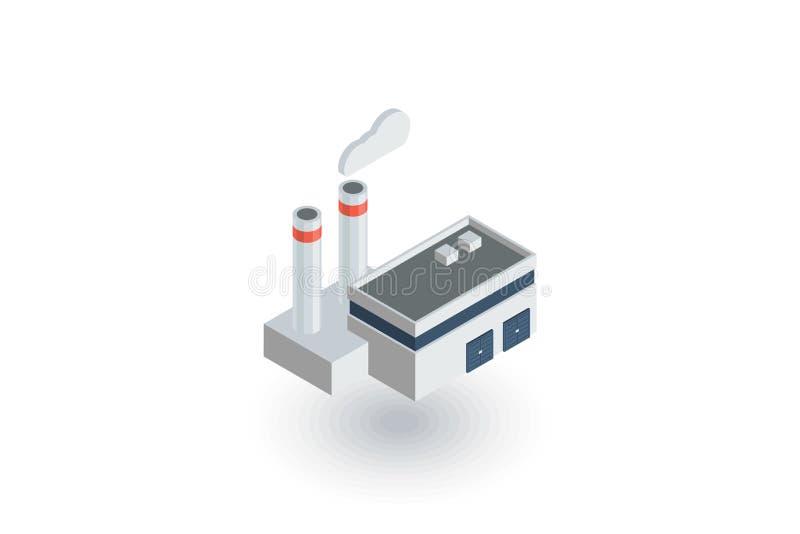 Manufaktura, przemysłowego fabrycznego budynku isometric płaska ikona 3d wektor ilustracja wektor