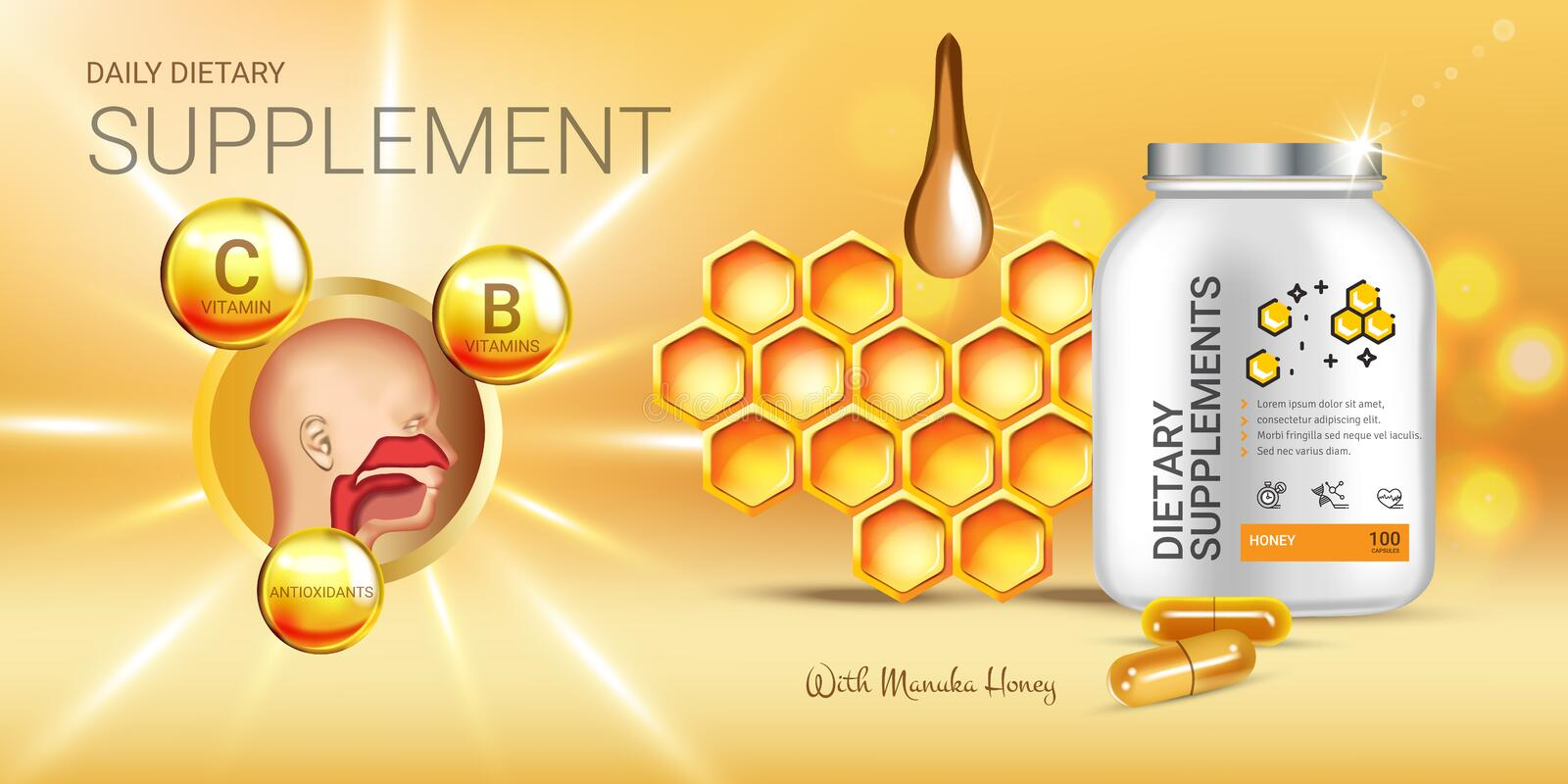 Manuka Honey dietary supplement ads. Vector Illustration with honey supplement contained in bottle and honey elements. Horizontal banner vector illustration