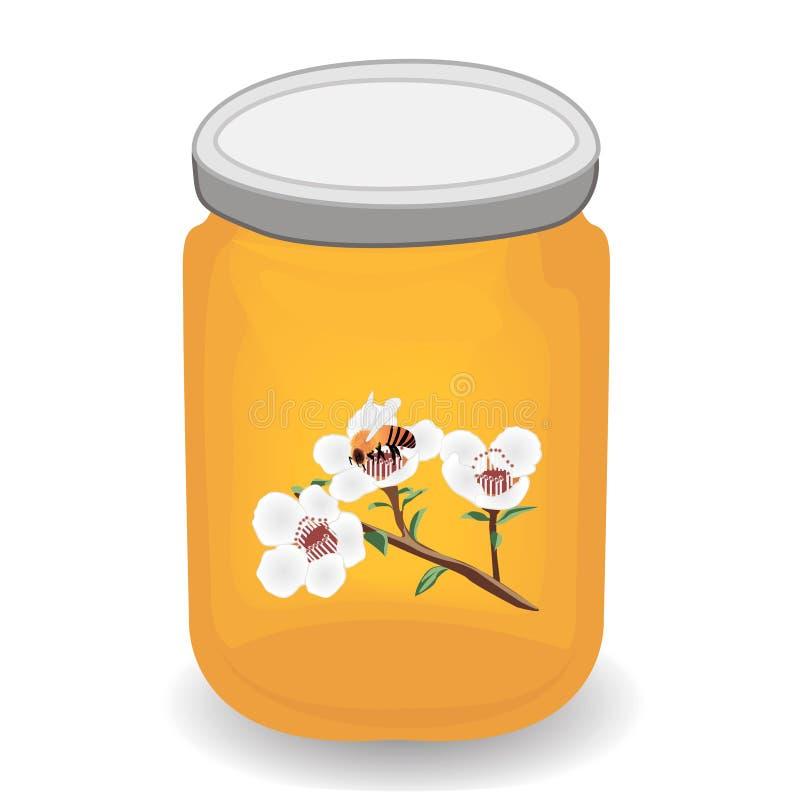 Manuka miód i A śniadanio-lunch manuka kwitnienie i pszczoła royalty ilustracja