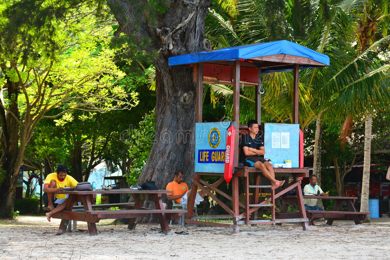 Manukan Island Lifeguard Post in Sabah, Malaysia. SABAH, MY-JUNE 20: Manukan Island lifeguard post on June 20, 2016 in Malaysia. The Manukan Island Resort is a royalty free stock photography