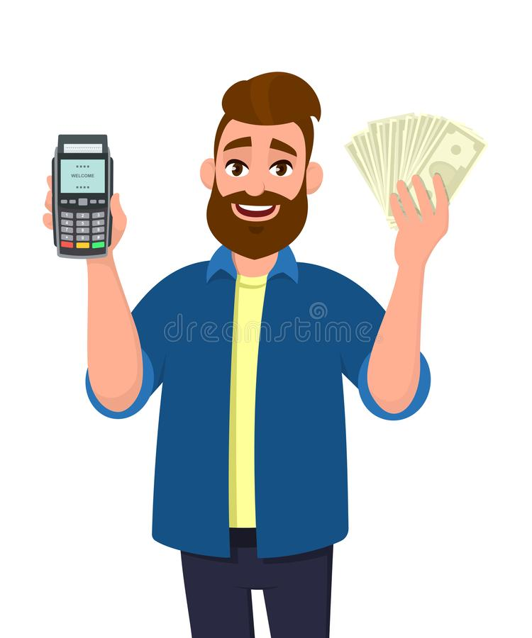 Manuppvisning/hållande krediterings-/debiteringkortpos. slutlig betalninghårt slagmaskin och rymma kassa, pengar, valuta eller i  vektor illustrationer